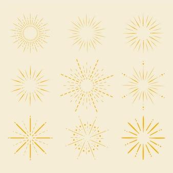 Collection de rayons de soleil plats linéaires