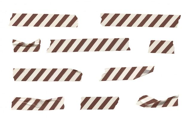 Collection de rayures de bande de washi rayé de vecteur, bandes de washi froissées et pliées