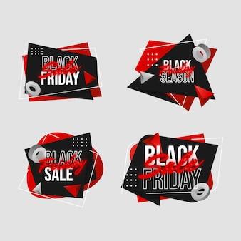 Collection réaliste de badges de vente du vendredi noir
