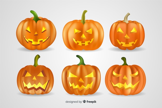Collection réaliste de citrouilles d'halloween