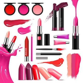 Collection réaliste de couleur de maquillage de lèvre