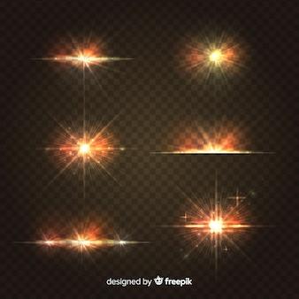Collection réaliste d'éclat de lumière