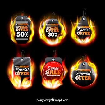 Collection réaliste d'étiquettes de feu