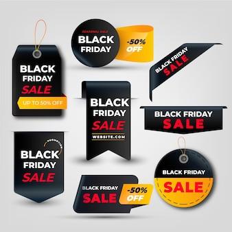 Collection réaliste d'étiquettes de vente du vendredi noir