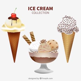 Collection réaliste de glaces délicieuses