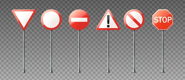 Collection réaliste de panneaux de signalisation d'avertissement et d'information
