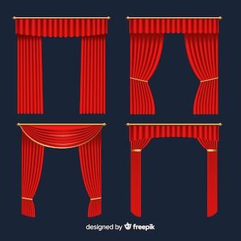 Collection réaliste de rideaux rouges