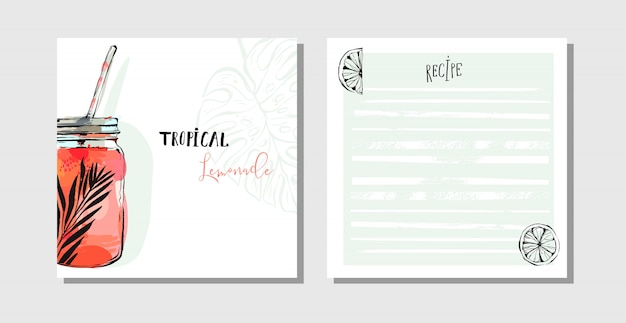 Collection de recettes de cartes de cuisine set modèle avec pot en verre de boisson détox eau, citrons et feuilles de palmiers tropicaux isolés sur fond blanc.