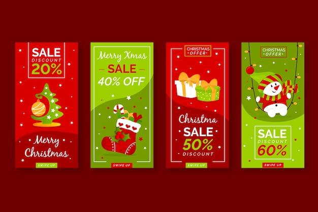 Collection de récits instagram de vente de noël