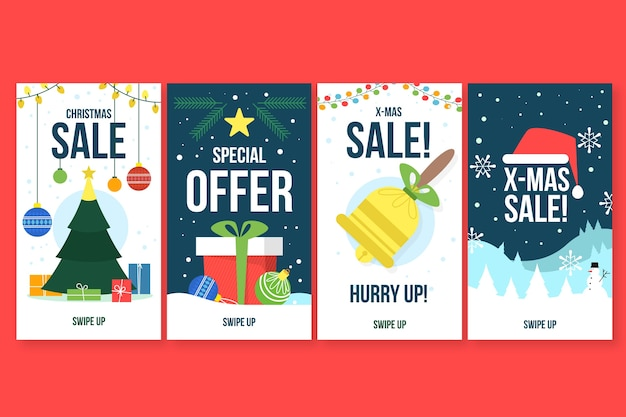 Collection de récits instagram de vente de noël