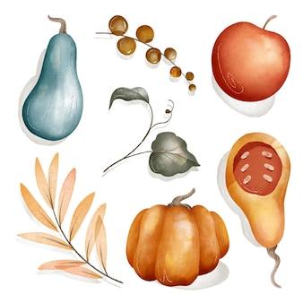 Collection de récolte d'automne aquarelle