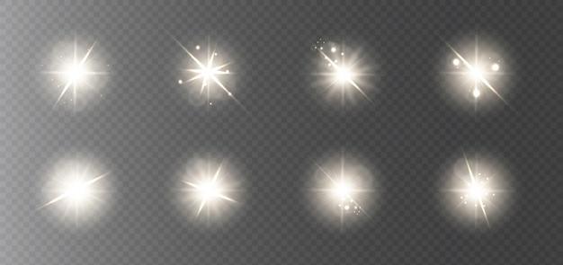 Une collection de reflets dorés brillants pour le nouvel an et noël.
