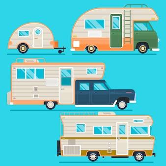 Collection de remorques de camping-car rétro