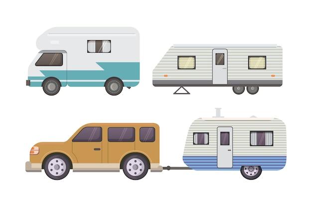 Collection de remorques de camping rétro. caravane remorques voiture. tourisme.