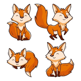 Collection de renard de dessin animé dessiné