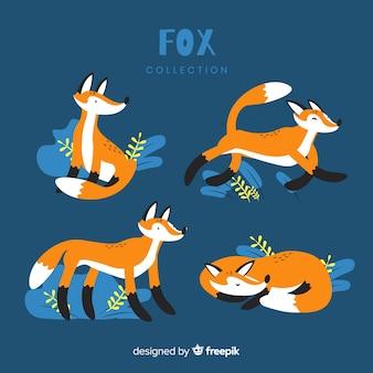 Collection de renards sauvages dessinés à la main