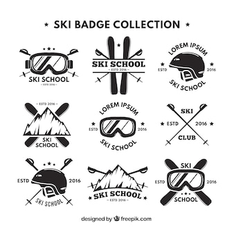 Collection de rétro logo de ski
