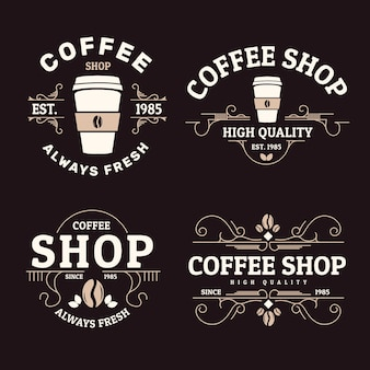 Collection rétro de logos de café