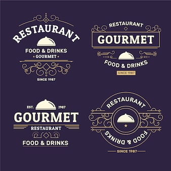 Collection rétro de logos de restaurants