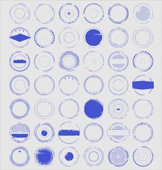 Collection rétro de timbres en caoutchouc grunge vide