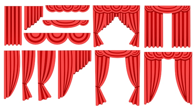 Collection de rideaux et draperies en soie rouge de luxe. décoration d'intérieur . icône. illustration sur fond blanc