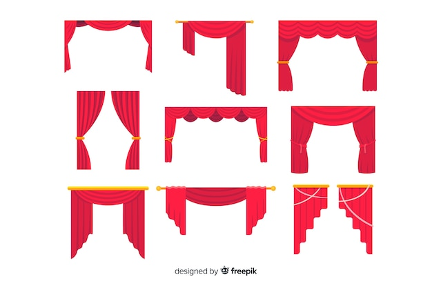 Collection de rideaux rouges design plat