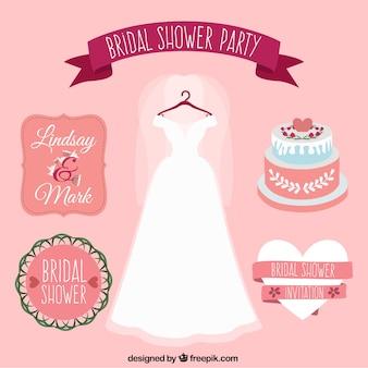 Collection de robe et de partie des éléments de mariage mignon