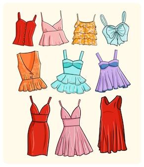 Collection de robes sexy pour femmes drôles dans un style simple doodle