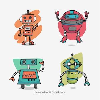 Collection de robots dessinés à la main
