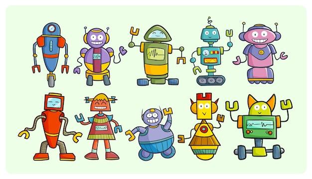 Collection de robots heureux drôles dans un style simple doodle
