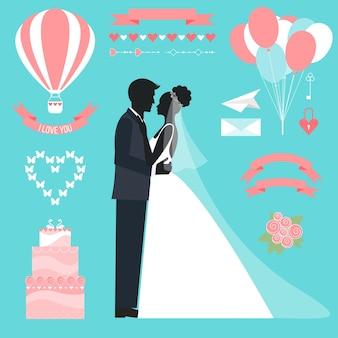 Collection romantique de mariage avec la mariée