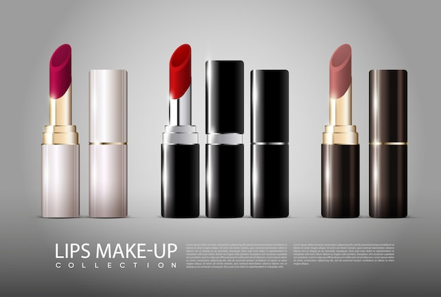 Collection de rouges à lèvres réalistes
