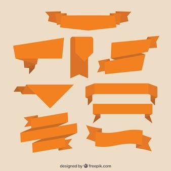Collection de ruban orange, plat