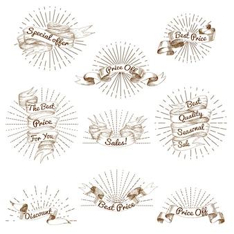 Collection de ruban vintage de vente de croquis