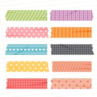 Collection De Ruban Washi Plat Vecteur Premium