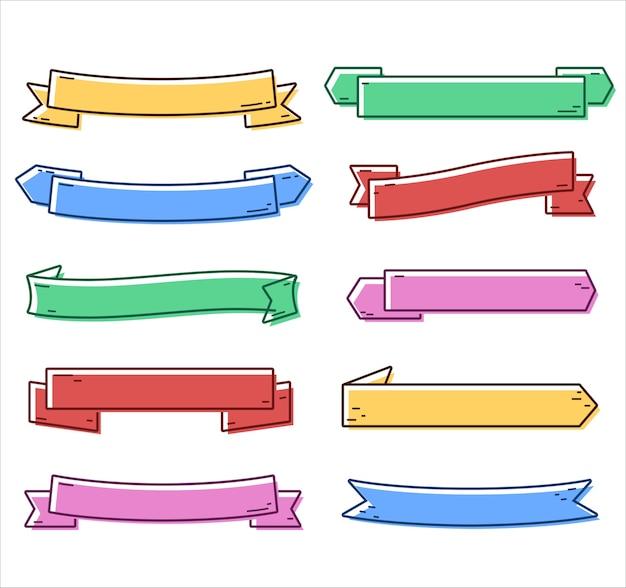 Collection de rubans blancs colorés dessinés à la main