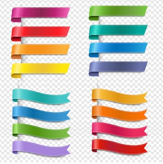 Collection de rubans colorés en soie fond transparent