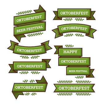 Collection de rubans design plat oktoberfest