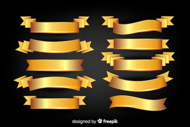 Collection de rubans dorés de noël réalistes