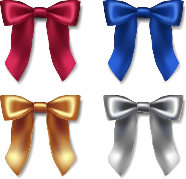 Collection de rubans d'icônes noeuds en velours rouge, bleu, or et argent pour emballages et décorations pour occasions spéciales.
