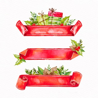 Collection de rubans de noël aquarelle