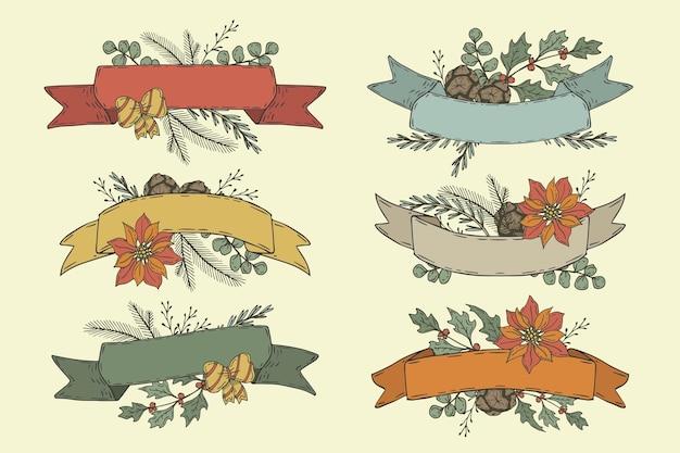 Collection de rubans de noël dessinés à la main