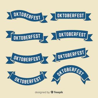 Collection De Rubans Oktoberfest Design Plat Vecteur Premium