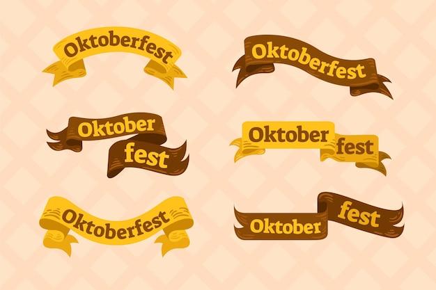 Collection de rubans oktoberfest dessinés à la main