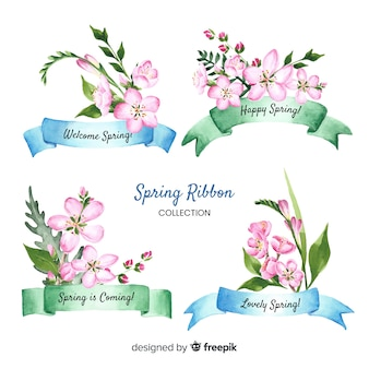 Collection de rubans de printemps floraux
