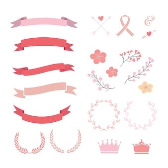 Collection de rubans roses et rouges