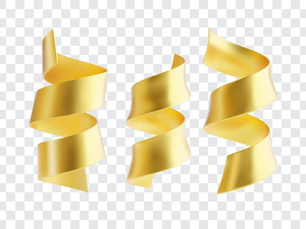 Collection de rubans serpantins dorés.