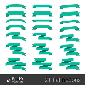 Collection de rubans de style plat vert isolé sur blanc avec un espace pour votre texte. éléments pour votre conception. origami en papier.