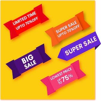Collection de rubans de vente colorés avec des offres de réduction sur fond jaune.