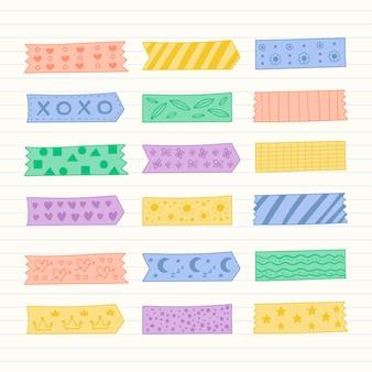Collection De Rubans Washi Dessinés à La Main Vecteur Premium